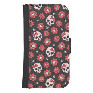 Tangerine Floral Goth Skulls Phone Wallet Cases