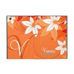 Tangerine Floral Monogram Folio iPad Mini Cover