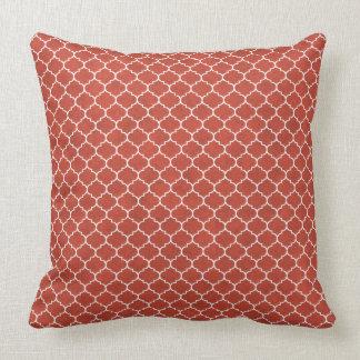 Tangerine Geometric Ornamental Design Throw Pillow
