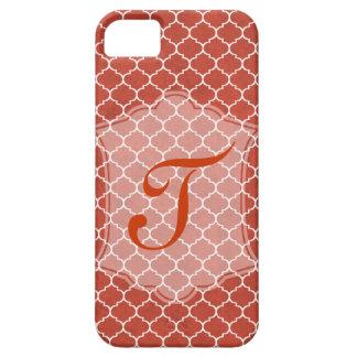 Tangerine Geometric Ornamental Design withMonogram iPhone 5 Covers