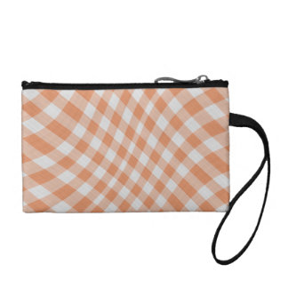 Tangerine Gingham Check Geometric Pattern wave Coin Purse