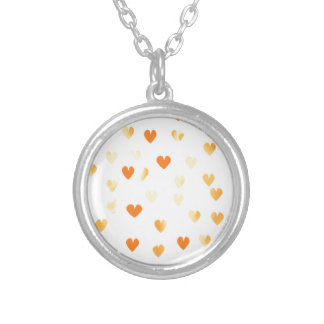 Tangerine Hearts Silver Plated Necklace