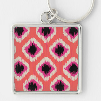 Tangerine Ikat - by TDStudio Silver-Colored Square Keychain