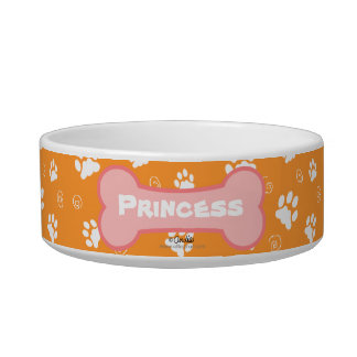 Tangerine Island Time Personalized Paw Print Bowl