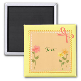 Tangerine Lace Edged Square With Flowers 2 Inch Square Magnet