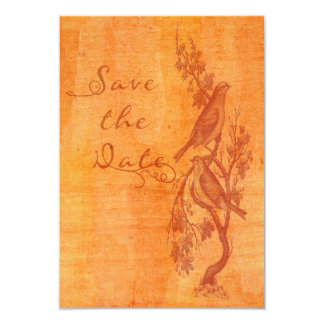 Tangerine Lovebirds Etching Save the Date 3.5x5 Paper Invitation Card