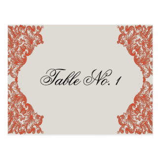 Tangerine Mocha Vintage Silhouette Table Number Postcard