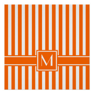 Tangerine Modern Stripe with Monogram Poster