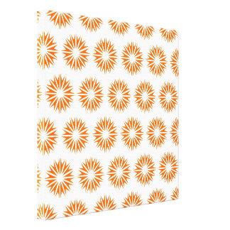 Tangerine Modern Sunbursts Stretched Canvas Print