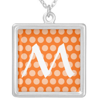 Tangerine Moroccan Dots with monogram Silver Plated Necklace