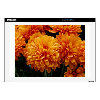 """Tangerine Mums Decal For 17"""" Laptop"""