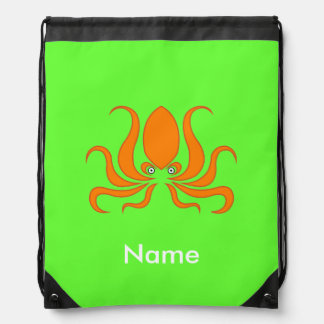 Tangerine Octopus Octopi Personalized Green Drawstring Backpack