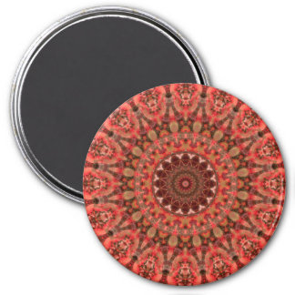 Tangerine Orange and Brown Mandala Kaleidoscope 3 Inch Round Magnet
