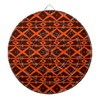 Tangerine Orange and Brown Modern Trellis Pattern Dart Boards