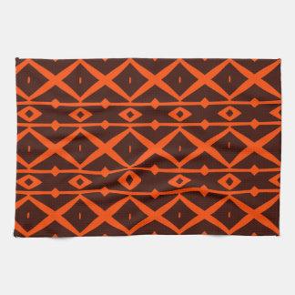 Tangerine Orange and Brown Modern Trellis Pattern Towels