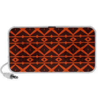 Tangerine Orange and Brown Modern Trellis Pattern Portable Speakers