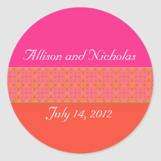 Tangerine Orange and  Pink Wedding favor stickers