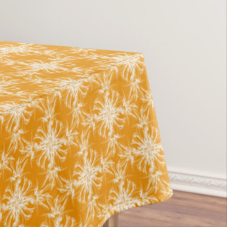 Tangerine Orange and White Floral Damask Tablecloth