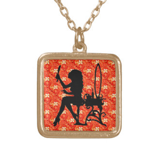 Tangerine Orange Blossoms Pretty is as Pretty Does Gold Plated Necklace