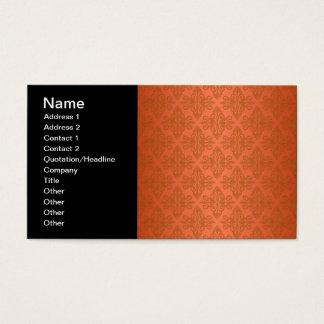 Tangerine Orange Damask Business Card