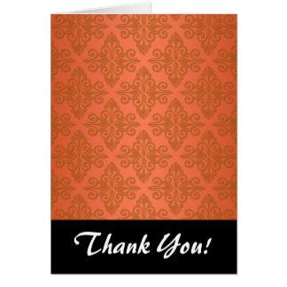 Tangerine Orange Damask Card
