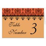 Tangerine Orange Damask Wedding Table Cards Cards