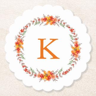 Tangerine Orange Floral Wreath Monogram Wedding Paper Coaster