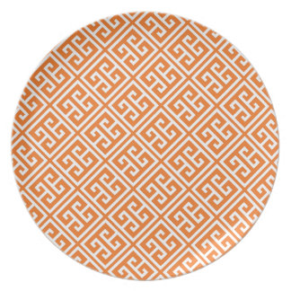 Tangerine Orange Greek Key Pattern Melamine Plate