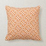 Tangerine Orange Greek Key Pattern Pillow
