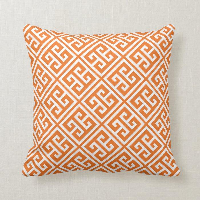 Tangerine Orange Greek Key Pattern Throw Pillow Zazzle