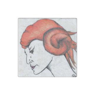 Tangerine Orange Haired Girl Art Stone Magnet