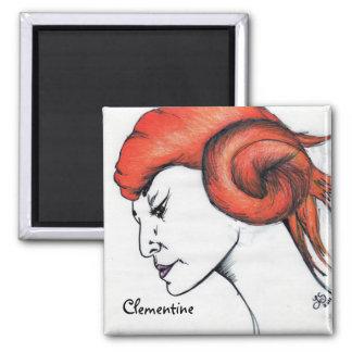 Tangerine Orange Haired Girl Original Art Magnet