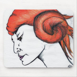 Tangerine Orange Haired Woman Portrait Pop Art Mouse Pad