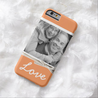 Tangerine Orange LOVE Large Photo Faux Ribbon Barely There iPhone 6 Case