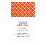 Tangerine Orange Moroccan Quatrefoil Pattern Double-Sided Standard Business Cards (Pack Of 100)