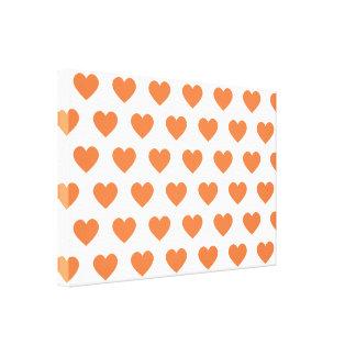 Tangerine Orange Polka Dot Hearts Canvas Print