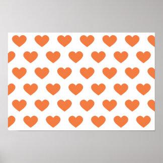 Tangerine Orange Polka Dot Hearts Print