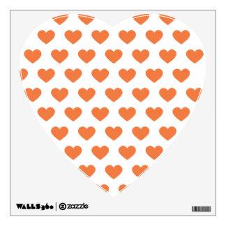 Tangerine Orange Polka Dot Hearts Room Sticker