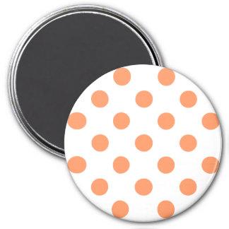 Tangerine Orange Polka Dots Circles 3 Inch Round Magnet