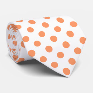 Tangerine Orange Polka Dots Circles Neck Tie