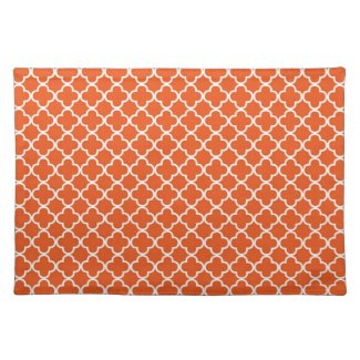 Tangerine Orange Quatrefoil Clover Pattern placemat
