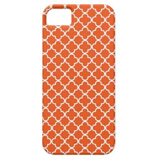 Tangerine Orange Quatrefoil Pattern iPhone 5 Cases