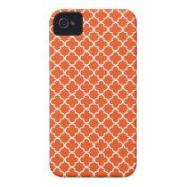 Tangerine Orange Quatrefoil Pattern iPhone 4 Covers