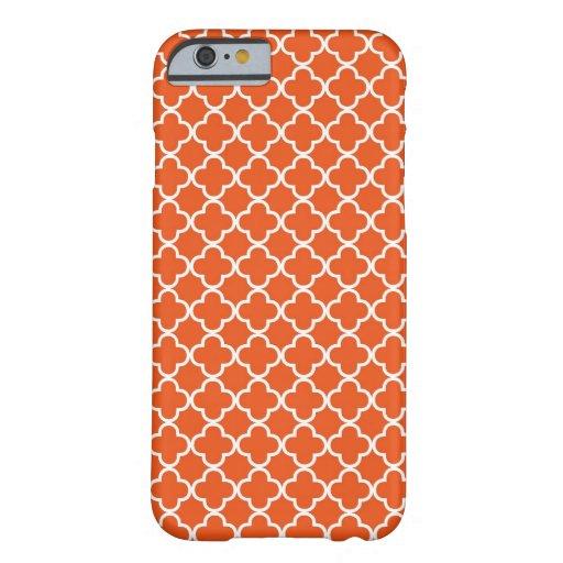 Tangerine Orange Quatrefoil Pattern iPhone 6 Case