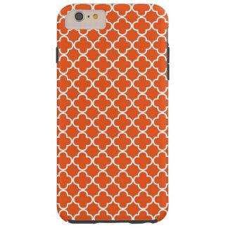 Tangerine Orange Quatrefoil Pattern Tough iPhone 6 Plus Case