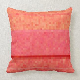 Tangerine orange red and pink pixel blocks pillows