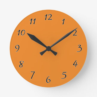 Tangerine Orange template to personalize Customize Round Clock