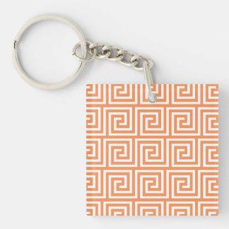 Tangerine Orange White Greek Key Pattern Keychain