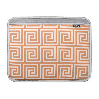 Tangerine Orange White Greek Key Pattern MacBook Air Sleeves