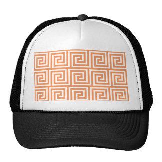 Tangerine Orange White Greek Key Pattern Trucker Hat